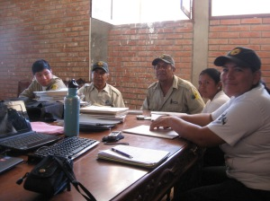 Talking about research with park guards of Pilón Lajas Biosphere Reserve, which borders Madidi.  There is a wide gap of knowledge among the new guards and the older guards about what research is, as in the past there were more opportunities for park guards to accompany scientists on fieldwork.