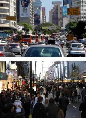 If a trail-based index of abundance were taken from city streets, then cars would be considered the most 'abundant' species because of the danger to people of walking on the road, but in car-free streets then clearly people are most 'abundant'. Indices that don't account for the effect of one 'species' on another are clearly biased. Images courtesy of Roberto Duran Ortiz (wikipedia) and Robert Scoble (flickr).