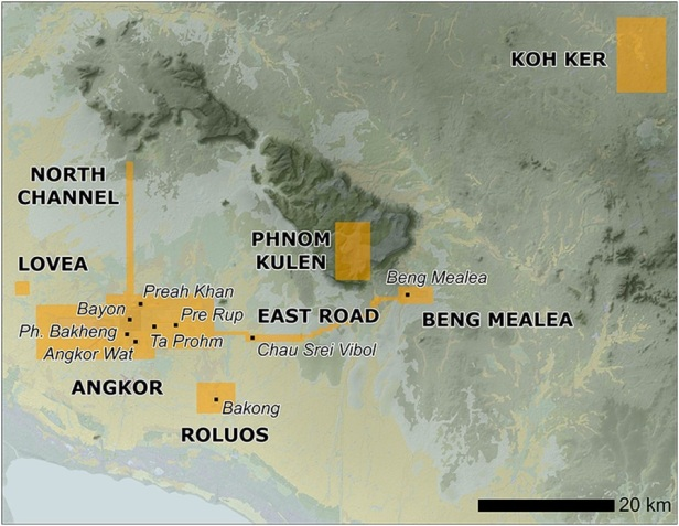 Location of Angkor in north-west Cambodia (taken from Evans et al. 2013).