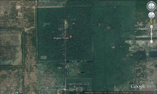 50-cm very high resolution Google Earth data over Angkor Thom (Map Data: Google Earth, CNES/Astrium, 2015).